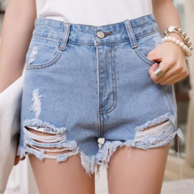 2017 Summer New Korean Version Of The Irregular Hole Cat Whisker Women Denim Shorts High Waist Shorts Pants Fashion Casual JeansОдежда и ак�е��уары<br><br><br>Aliexpress
