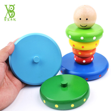 XB Large Size Wood Toy Wooden Colorful Stacking Stack Rainbow Tower Playing Clown Toy Educational Learning Toy for Kids -48(China)