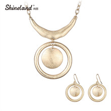 Shineland Punk Statement Jewelry Pure Handmade Drawing Double Round Gold/Silver Color Necklaces & Pendant Bohemia Vintage Bijoux