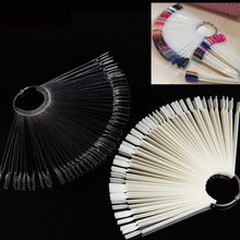 50PCS Transparent/Natural/Black Fan Board Display Nail Art Tips False Round Hoop Stick Practice for Polish Gel Showing Tools
