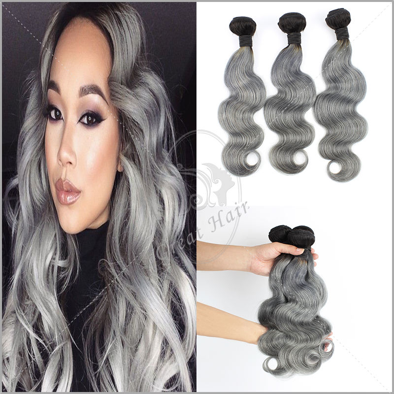 Grade 7A Cheap Brazilian Virgin Hair 3 Bundles Silver Ombre Grey/Gray Human Hair Weave Two Tone Dark Root 1B/Grey Ombre Hair<br><br>Aliexpress