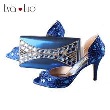BS009 Custom Made Royal Blue Rhinestones Italian Shoes With Matching Bag Set Bridal Wedding Shoes Women Dress Sandals Plus  size