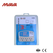 Free Shipping,Manufacturer,MVAVA Triple Receptacle US Standard Home Appliance Power Voltage Protector Brownout Socket White