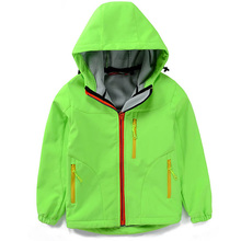 2017 autumn and winter soft shell coat thickening hood Ski big yard boy and gril windproof waterproof outdoor hiking jacket