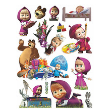 60*45cm Children Room Wall Stickers for Kids rooms bedrooms Masha & Bear Cute Cartoon Multi Use Lovely Sticker