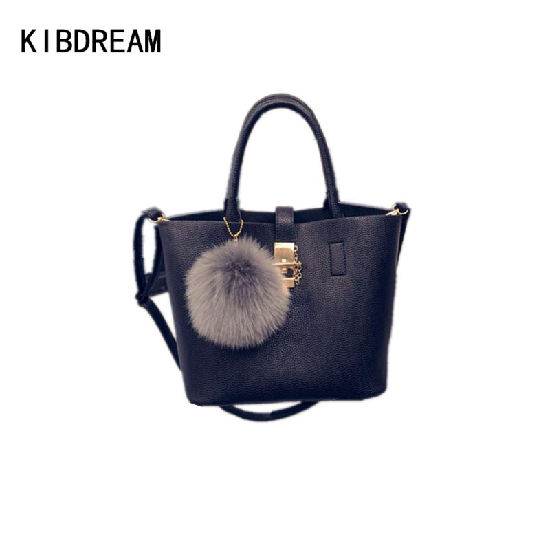 KIBDREAM 2016 New Fashion Top Handle Handbag Shoulder Bags High Quality Women Leather Handbags Womens Red Composite Tote Bags<br>