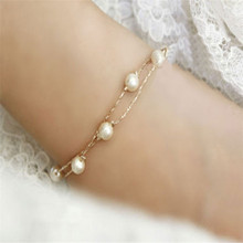 New Elegant Jewelry Rose Gold Bracelet Imitation Freshwater Pearls Bead Chain Bangle 0