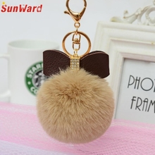 Faux Rabbit Fur Ball Bowknot Charm Car Keychain Handbag Key Ring Delicate
