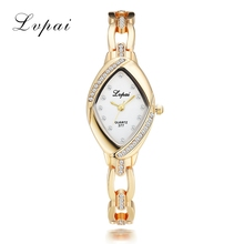 Lvpai Luxury Ladies Bangle Watch Thin Oval Rhombus Gold Rhinestone Watch Women Dress Quartz Crystal Womens Wrist Clock Watches