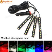 New 4 In 1 9 Led Atmosphere Lights 12V Car Auto Interior Decoration Light Foot Lamp Bar Crystal Blue Pink