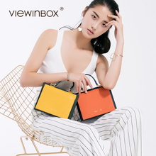 Viewinbox Brand Split Leather Casual Shoulder Bags Women Small Messenger Bags Ladies Retro Design Handbag with 2 color Design(China)