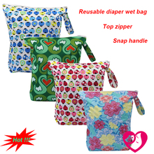 1PC Reusable Waterproof Printed PUL Diaper Wet Bag Double Pocket,Cloth Handle,33x40CM Wholesale Selling