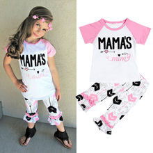 Piercing Heart Print Kid Baby Girl Children 2017 New Patchwork Pink White Top T shirt Pants Leggings Outfit Set Clothes 0-5Y