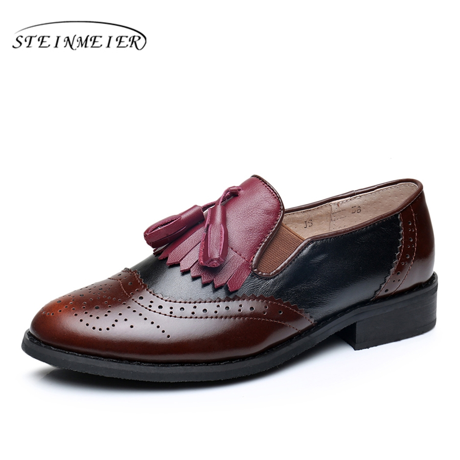 Genuine leather big woman us 9 tassel vintage flat Casual soft shoes round toe handmade wine red  oxford shoes for women fur<br>