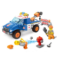 Enlighten highway road wrecker rescue vehicle cars truck City Building Blocks Bricks toys for children brinquedos(China)