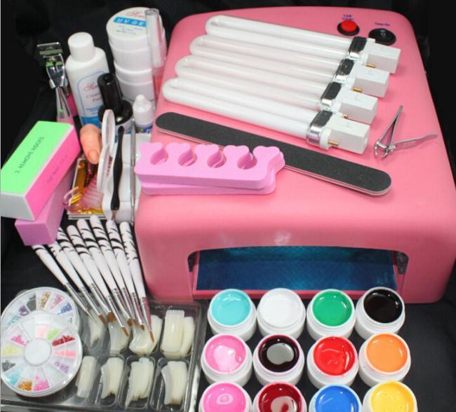UV 36W DRYER LAMP SOAK OFF NAIL BUILDER Gel Polish SETS KITS Sticker Manicure brushes Tools Varnish For Nail Art<br>