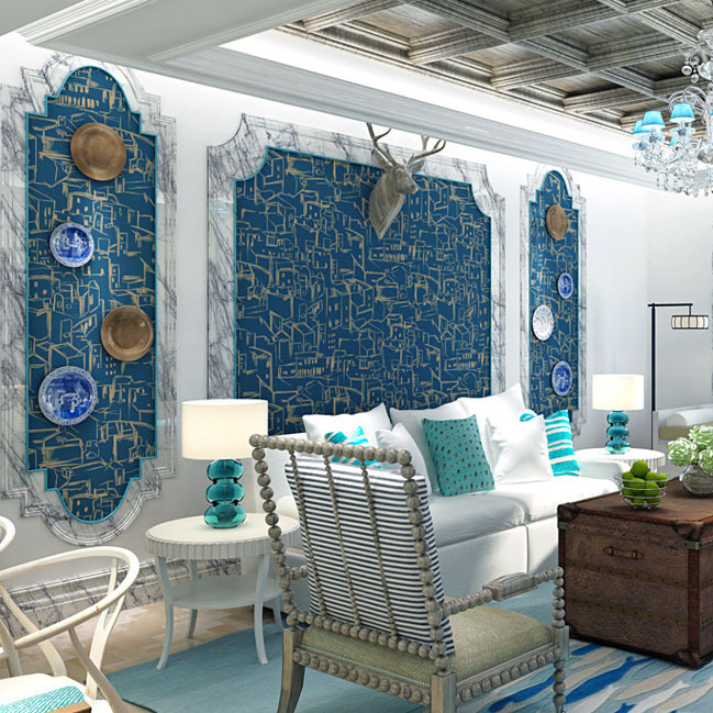 Mediterranean wallpaper children room non-woven wall paper living room bedroom background restaurant TV House sketch wall Decro<br>