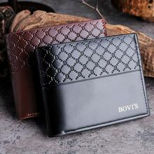 Excellent Quality New Mens Short Wallets Bifold Wallet Mens Top Brand Leather Card Receipt Holder Coins Wallet Purses Pockets