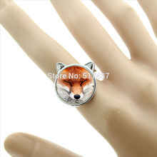 New Fashion Squinting Fox Rings The Lazy Fox Adjustable Ring Fox Lover's Accessory Silver Personalized Ring CR-00128