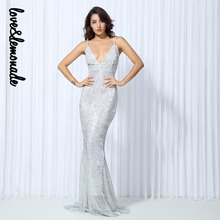 Love&Lemonade Sexy SilverElastic Sequin V Collar Exposed Back Maxi Dress LM0043