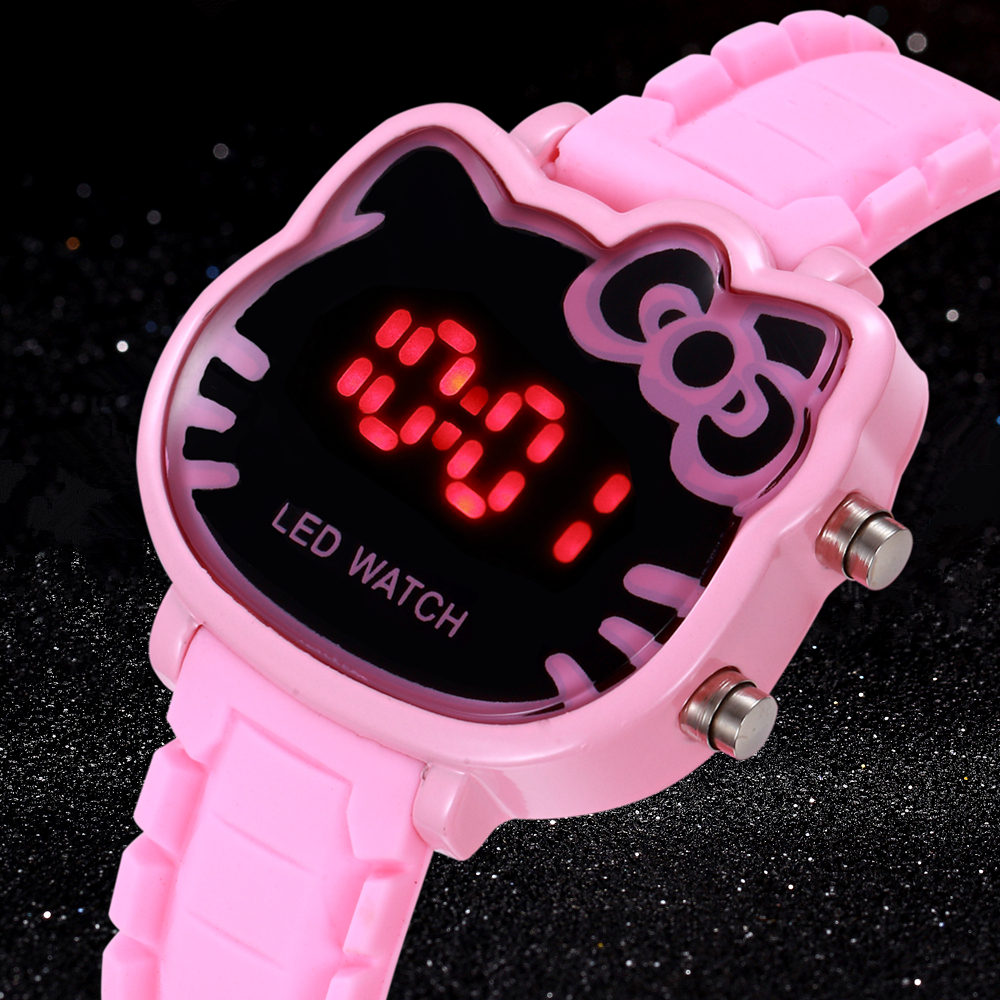 Hello Kitty Brand LED Hodinky Children Watches Quartz Cartoon Wrist Watch Girls Silica Gel Clocks Ceasuri Saat Relogios infantis(China)