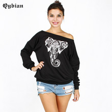 Autumn T-Shirts For Women Slash Neck Tee Shirt Femme Camisetas Elephant 3D Printing Tshirt Female t Shirts Off Shoulder Tops