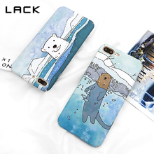 LACK Lovely Cartoon Phone Case For iphone 7 Case White Polar Bear Hard Matte Coque For iphone 7 Plus Snow Mountain Cover(China)