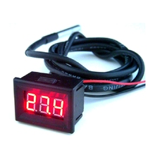 New DC 12V 24V Temperature Monitor Meter Red LED Digital Thermometer -55~125 degree Free shipping Dropshipping(China)