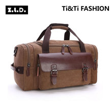 Z.L.D Originals Leather Travel Bags Men Canvas Hand Luggage Duffel Men's Bags Travel Bags Large Tote Weekend Bag During Night