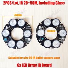 2PCS/Lot 6x Array LED IR 20-50 Meters DC12V Size 90 PCB Board 76x34mm Infrared Night Vision for CCTV Bullet Camera Case Casing(China)