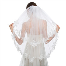 Hot Sale 2017 New Attractive White Ivory In Short Veil Wedding Accessories Simple Two-Layer Applique Edge Wedding Veil with Comb