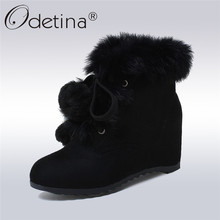 Odetina 2017 New Hidden Heel Wedge Ankle Boots Lace Up Faux Suede Real Rabbit Fur Snow Boots Women Winter Warm Shoes Big Size 43(China)