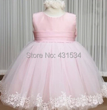 Retail Pink girl dresses girl's party High-grade Princess dresses chiffon Big bowknot dress childrens clothing dress