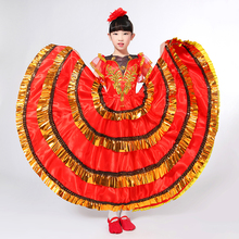 flaChildren's performance apparel Spain bullfighting dance costumes full-skirted dress opening dance performance dress(China)