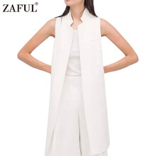 ZAFUL Women White Black Long Vest Coat Europen Style Waistcoat Sleeveless Jacket Back Outwear Casual Top Roupa Female Chaleco