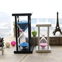 1PC 30 Minutes White or Black Wooden Frame Sandglass Hourglass Clock Egg Timer Room Office Decor Unique Gift Tabletop JY 1194(China)