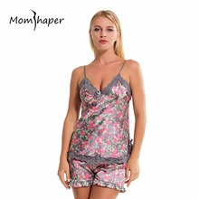 Women Sleepwear Nightgowns sexy lingerie Home Clothes Women summer Female pajamas Floral Sleepwear Silk Pajamas Lingerie Set(China)