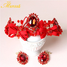 Charm Red Crystal Tiara and Earring 100% Handmade Ribbon Bow Hairband Bridal Flower Crown Vintage Wedding Hairband Tiaras HG134