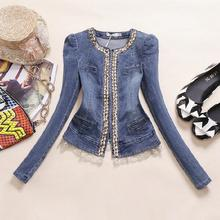 New WOMEN Slim Lace Patchwork Denim Jackets Outerwear Jean Coats Rhinestone Sequins FASHION Jackets Women Coats A174