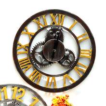 40CM Large 3D Wooden Wall Clock Retro Gear Style for Home Restaurant Decoration 2016 New Arrival