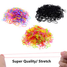 500 Pcs/Pack Super Elastic Candy Color Mix Elastic Hair Bands Kids Hair Ties Ponytail Holder Children Accessories(China)