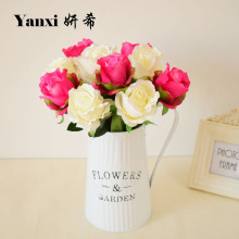 Silk rose artificial flower for home garden tabletop party wedding decorations red blue pink white purple diy gift fake flower(China)