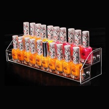 New Style Clear Acrylic 2 Layers Makeup Cosmetic Organizer Box Mac Lipstick Jewelry Display Stand Holder Nail Polish Rack