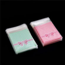 100PCS Candy Sweet bowknot Gift Bags cookies bag Food soap Packaging bags DIY for Christmas Wedding Party 2 Colors(China)
