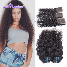 Brazilian Water Wave Virgin Hair With Closure Brazillian Virgin Hair Wet and Wavy Brazilian Human Hair 3 -4 Bundles With Closure