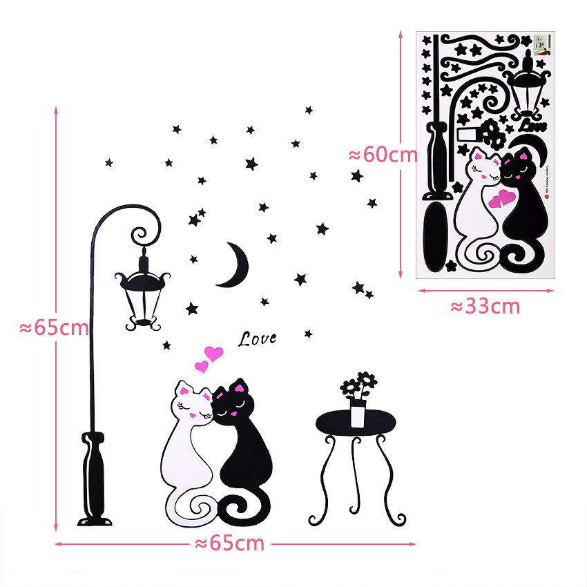 1 pcs Cute Cartoon Couple Cat Flower Vine 3D Wallpaper 1 pcs Cute Cartoon Couple Cat Flower Vine 3D Wallpaper HTB1CLIaNpXXXXalapXXq6xXFXXXS
