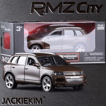 RMZ City 1:36 Volkswagen Touareg SUV Alloy Toy Model Car Brown Authorized By The Original Factory Model Kids Toys collection(China)