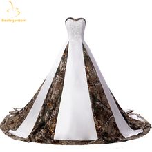 2017 New Sexy Wedding Dresses With Appliques Ball Gown Long Camouflage Wedding Party Dress Bridal Gowns Robe De Mariage QA838