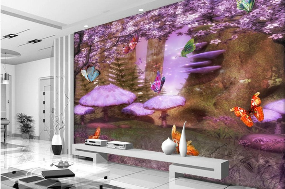 customized 3d stereoscopic wallpaper Sakura Purple Butterfly 3d mural wallpaper landscape wallpapers for living room<br><br>Aliexpress