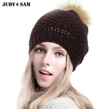 New 2015 Fashion Colors Warm Wool Knitted Pattern Women Man Apparel Accessories Beanie Hat with Real Fur Pom Poms Top Winter Hat(China)